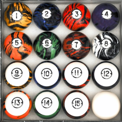 Dark Marble Classic Style Pool Table Billiard Ball Set